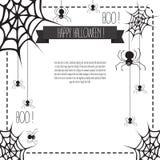 Bandera de Halloween con el web y las arañas Fotos de archivo
