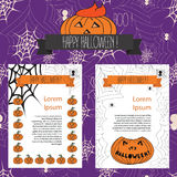 Bandera de Halloween con el web y las calabazas de araña Fotos de archivo