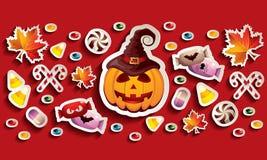 Bandera de Halloween con la linterna, las hojas y los caramelos de Jack O Foto de archivo libre de regalías