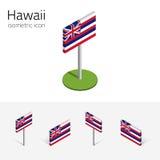 Bandera de Hawaii los E.E.U.U., iconos planos isométricos del vector 3D stock de ilustración