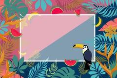 Bandera de hojas de palma tropicales Imagenes de archivo