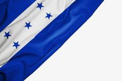 Bandera de Honduras de la tela con el copyspace para su texto en el fondo blanco ilustración del vector