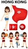 Bandera de Hong-Kong y muchos deportes Foto de archivo libre de regalías