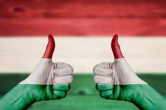 Bandera de Hungría pintada en los pulgares femeninos de las manos para arriba Imagenes de archivo