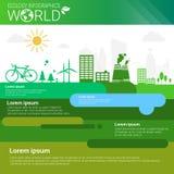 Bandera de Infographics de la ecología de la energía del verde de la protección del medio ambiente del mundo con el espacio de la Imagen de archivo