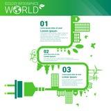 Bandera de Infographics de la ecología de la energía del verde de la protección del medio ambiente del mundo con el espacio de la Foto de archivo libre de regalías