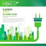 Bandera de Infographics de la ecología de la energía del verde de la protección del medio ambiente del mundo con el espacio de la Imágenes de archivo libres de regalías
