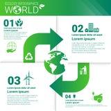 Bandera de Infographics de la ecología de la energía del verde de la protección del medio ambiente del mundo con el espacio de la Foto de archivo