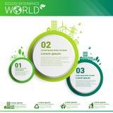 Bandera de Infographics de la ecología de la energía del verde de la protección del medio ambiente del mundo con el espacio de la Fotografía de archivo
