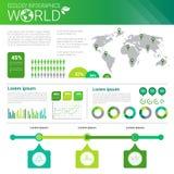 Bandera de Infographics de la ecología de la energía del verde de la protección del medio ambiente del mundo con el espacio de la Fotos de archivo
