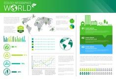 Bandera de Infographics de la ecología de la energía del verde de la protección del medio ambiente del mundo con el espacio de la Fotos de archivo libres de regalías