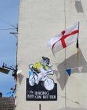Bandera de Inglaterra, anuncio con las ovejas para el Tour de France Imagenes de archivo