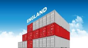 Bandera de Inglaterra del envase del buque mercante para la logística y transporte con las nubes libre illustration