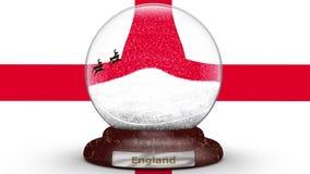 Bandera de Inglaterra en el globo de la nieve almacen de metraje de vídeo