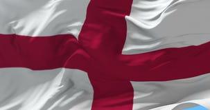 Bandera de Inglaterra que agita en el viento en el cielo azul, lazo stock de ilustración