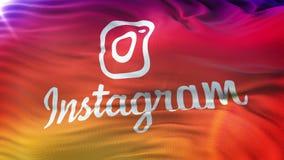 Bandera de Instagram que agita en el sol Lazo inconsútil con el textur altamente detallado de la tela