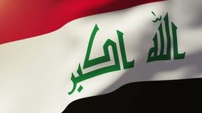 Bandera de Iraq que agita en el viento Subidas de colocación del sol libre illustration