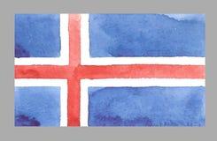 Bandera de Islandia de la acuarela Ilustración del vector Imagen de archivo