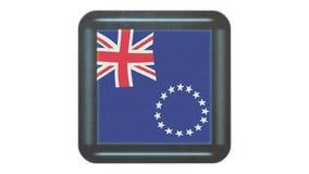 Bandera de Islands del cocinero que agita en el viento Icono en el marco r almacen de video