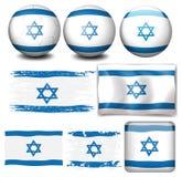 Bandera de Israel en diversos objetos Imágenes de archivo libres de regalías