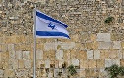 Bandera de Israel en la pared occidental imagen de archivo libre de regalías