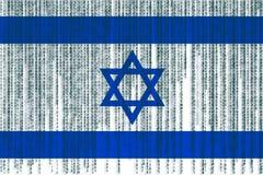 Bandera de Israel de la protección de datos Bandera de Israel con código binario Imagen de archivo