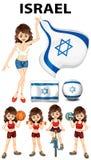 Bandera de Israel y atleta de la mujer Foto de archivo libre de regalías