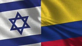 Bandera de Israel y de Colombia - dos banderas junto fotografía de archivo libre de regalías