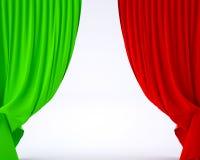 Bandera de Italia en una cortina de la seda del teatro Imágenes de archivo libres de regalías