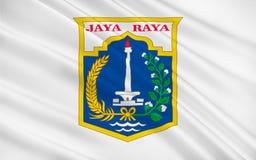 Bandera de Jakarta, Indonesia stock de ilustración