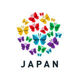 Bandera de Japón con el samurai en el fondo blanco Imagen de archivo