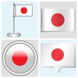 Bandera de Japón - sistema de etiqueta engomada, de botón, de etiqueta y de fla Fotografía de archivo