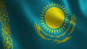 Bandera de Kazajistán que agita 3d abstraiga el fondo Animación del lazo