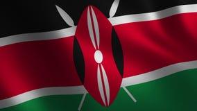 Bandera de Kenia que agita 3d abstraiga el fondo Animación del lazo