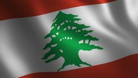 Bandera de Líbano que agita 3d abstraiga el fondo Animación del lazo