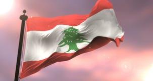 Bandera de Líbano que agita en el viento en la puesta del sol en lento, lazo ilustración del vector