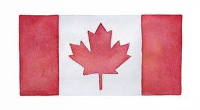 Bandera de la acuarela de Canadá stock de ilustración