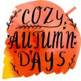 Bandera de la acuarela del otoño con las letras de la mano stock de ilustración