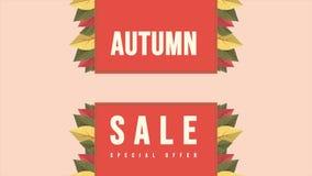Bandera de la animación del texto de la venta del otoño con estacional colorido stock de ilustración