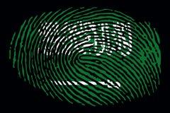 Bandera de la Arabia Saudita bajo la forma de huella dactilar en un fondo negro ilustración del vector