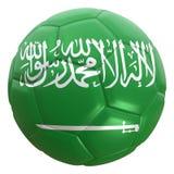 Bandera de la Arabia Saudita en una bola del fútbol Fotos de archivo libres de regalías