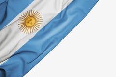 Bandera de la Argentina de la tela con el copyspace para su texto en el fondo blanco libre illustration