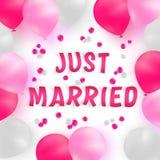 Bandera de la boda Globos realistas blancos, rosados y de color rosa oscuro en el fondo blanco con los pétalos color de rosa Foto de archivo libre de regalías