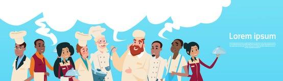 Bandera de la burbuja de la charla de la comunicación del grupo de raza de la mezcla de And Waiters Service del cocinero de la ma Imagenes de archivo