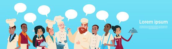 Bandera de la burbuja de la charla de la comunicación del grupo de raza de la mezcla de And Waiters Service del cocinero de la ma Fotografía de archivo