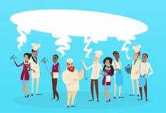 Bandera de la burbuja de la charla de la comunicación del grupo de raza de la mezcla de And Waiters Service del cocinero de la ma Imágenes de archivo libres de regalías