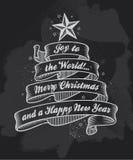 Bandera de la caligrafía de la Navidad de la pizarra ilustración del vector