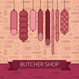 Bandera de la carnicería Productos de la carne y de salchicha de la barbacoa vario ilustración del vector