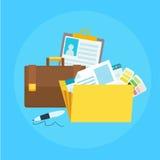 Bandera de la cartera Carpeta con los ficheros, cartera, pluma ilustración del vector