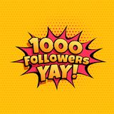 bandera 1000 de la celebración del seguidor para los medios sociales libre illustration